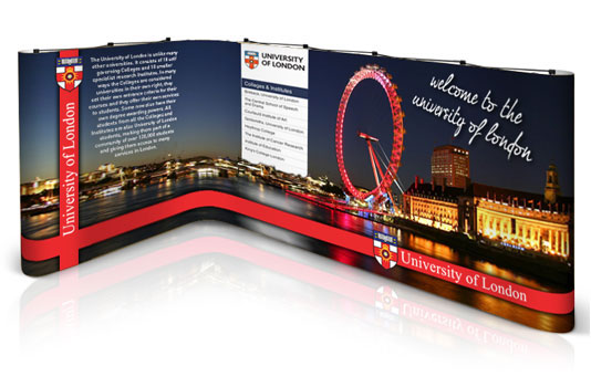 L-shaped popup stand for the University of London.