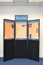 Folding display board: Women in Islam.