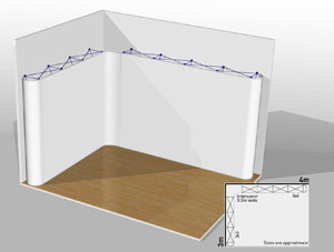 Popup stand design using CAD software.