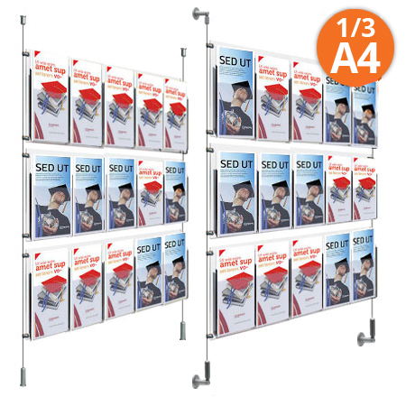 1/3 A4 Leaflet Dispensers - wall or floor-to-ceiling mount