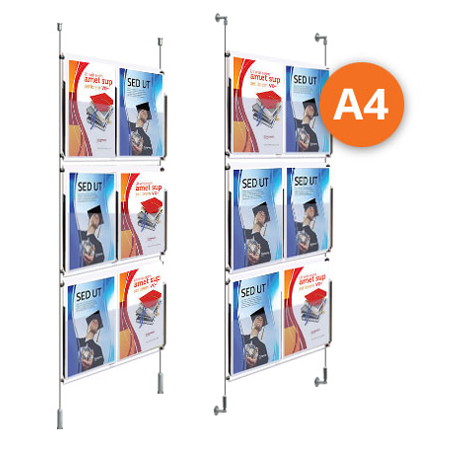 6 x A4 leaflet Dispensers - Choose either wall mountable or floor to ceiling kits