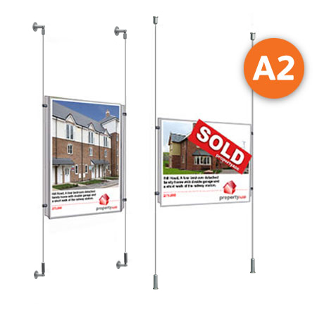 A2 cable display systems with clear poster pockets