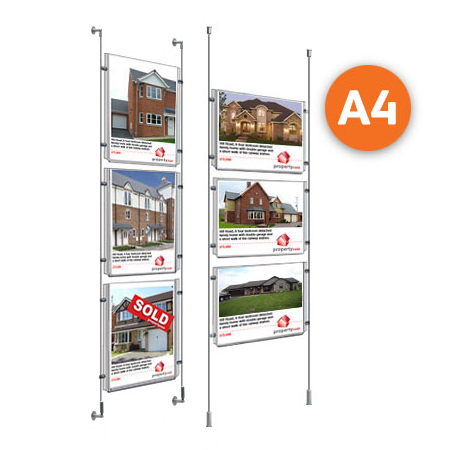 3 x A4 - Choose either wall mountable or floor to ceiling cable display systems