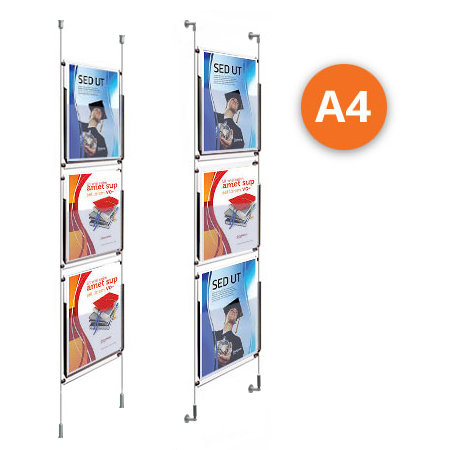 3 x A4 Leaflet Dispenser - Choose either wall mountable or floor to ceiling kits