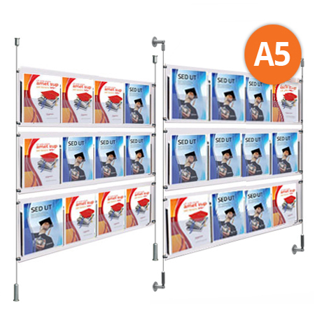 9 x A5 Leaflet Dispensers - Choose either wall mountable or floor to ceiling kits