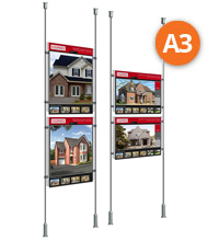 Floor-to-Ceiling Rod Displays - 2 x A3 Posters