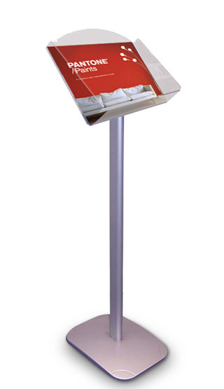 Single A4 landscape pocket floor standing leaflet holders.