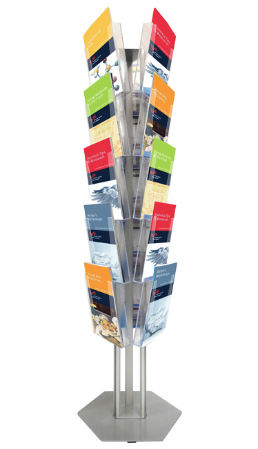 Floor standing leaflet holders with 15 A4 portrait pockets.