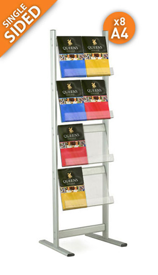 The Connect 1 single sided leaflet stand boasts capacity for up to 8x A4 portrait leaflets or brochures.