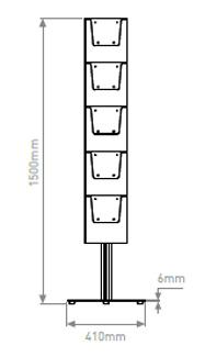 Line drawing of leaflet holder with A4 pockets.