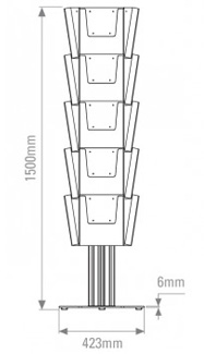Front view line drawing - leaflet holder including 15 A4 pockets.
