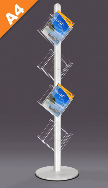Unique zig-zag leaflet stands with 8x A4 portrait pockets