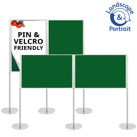 Fasten posters to the A1 boards with pins and Velcro. Use boards in horizontal or vertical orientation.
