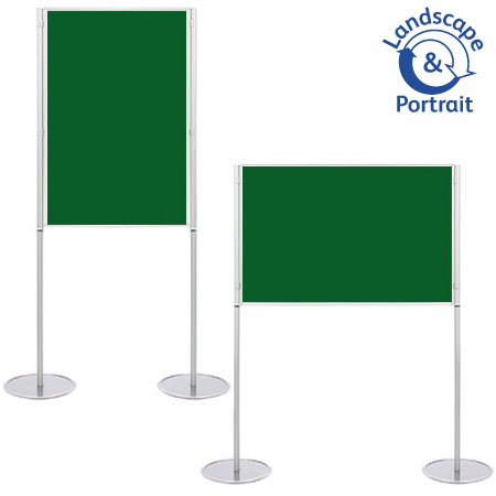 Poster display boards with A1 panel area. Single elevated display on legs.