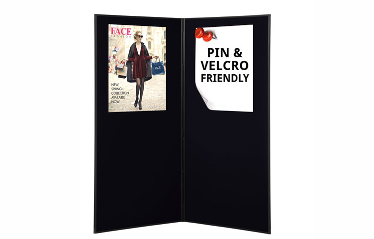 Use pins and Velcro to attach posters