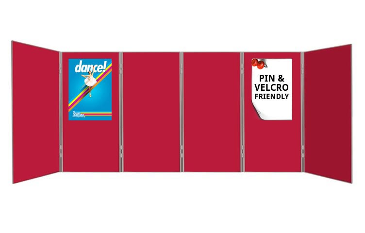 Attach posters to exhibition boards using pins and Velcro