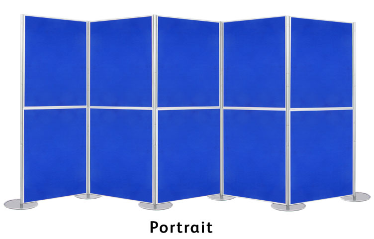 Set up display boards in a horizontal formation.