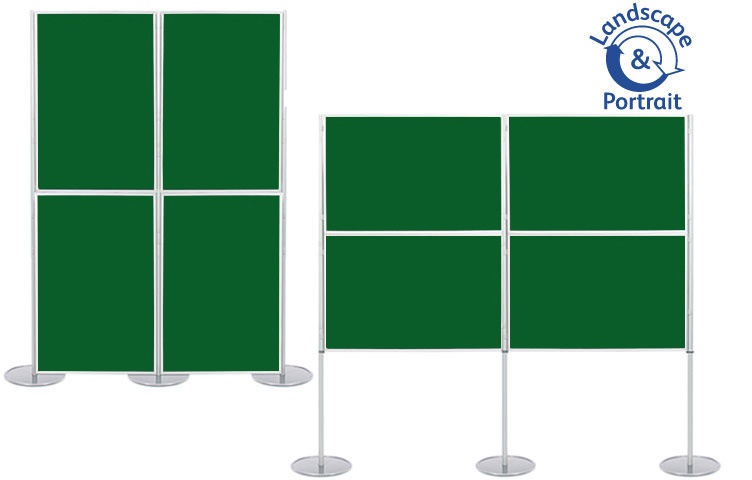 Panel & pole display stand with 4 display boards 900 x 600mm size.