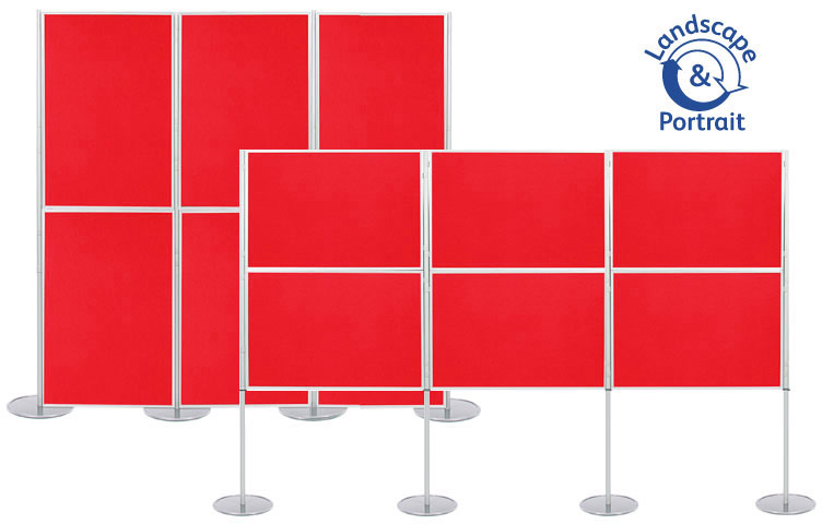 Panel and pole display stand with 6 display boards 1000 x 700mm size.