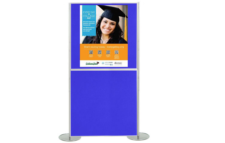 Attach posters to the poster boards using Velcro and pins.