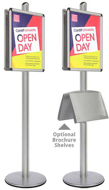 Double sided A2 sign holders with optional leaflet shelf.