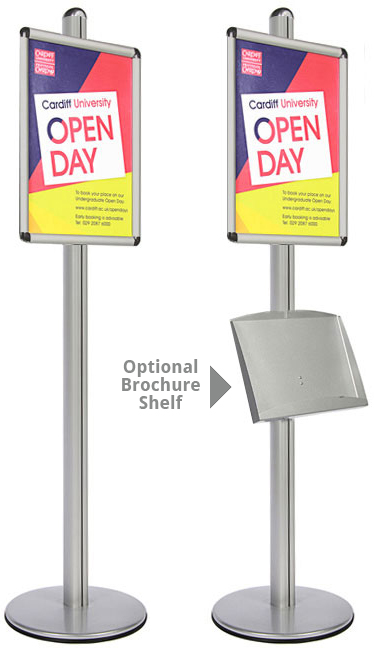 Single sided display stand with optional steel brochure shelf
