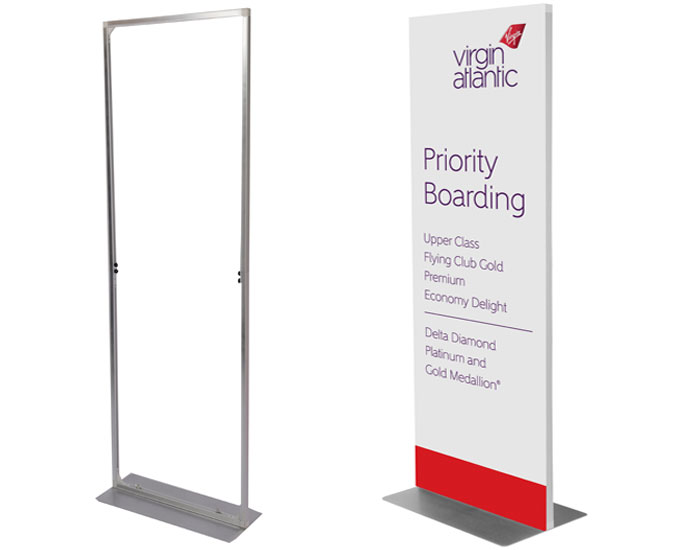 Airport freestanding information signs - Virgin Example