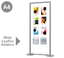 6 x A4 Portrait Poster Pockets with 2 x A4 Leaflet Holders