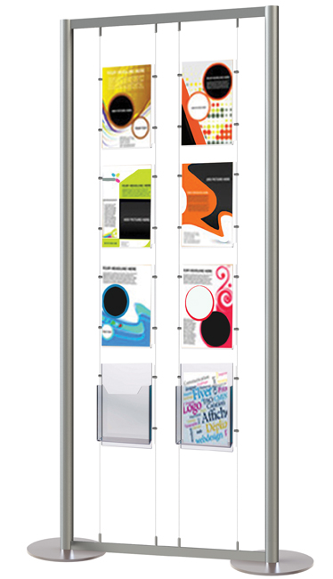 A mix of double sided easy access poster pockets and A4 leafet holders in one display stand.
