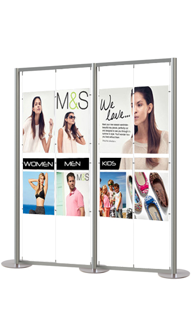 Large display stand displaying up to 16 A2 portrait posters. Supplied with heavy duty circular bases, ideal for busy environments.