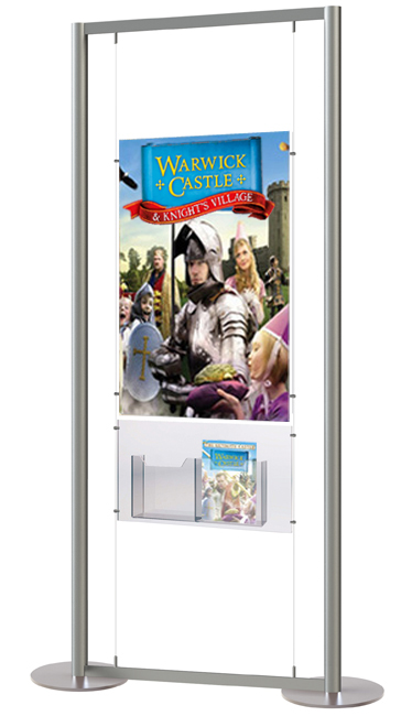 Display stand with clear acrylic A1 poster holder and leaflet dispenser.