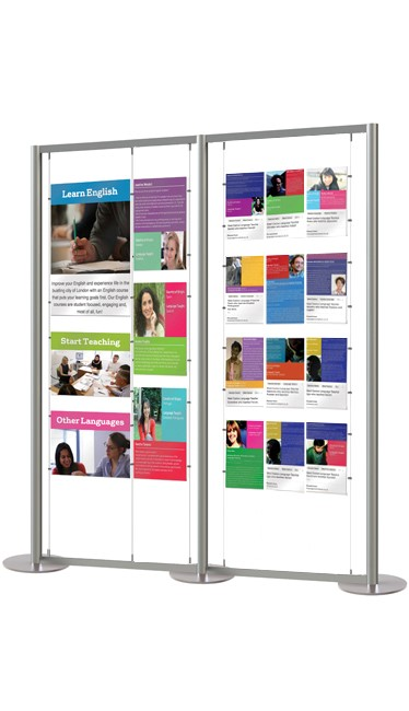 Double sided mixed pocket sizes on our popular A2, A3 and A4 display stand.