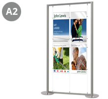 4 x A2 Portrait Free Standing Cable Display Stand