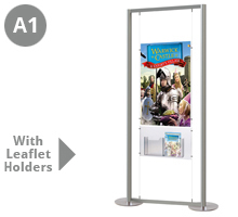 1 x A1 Portrait Floor Standing Cable Display Stand with Leaflet Holders