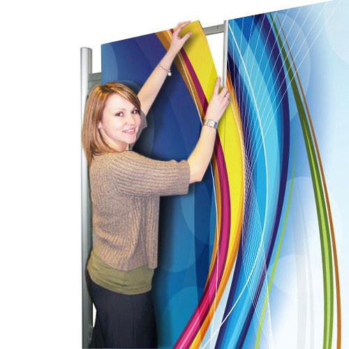 Magnetically attach graphics to the aluminium frame - exhibition display stands.