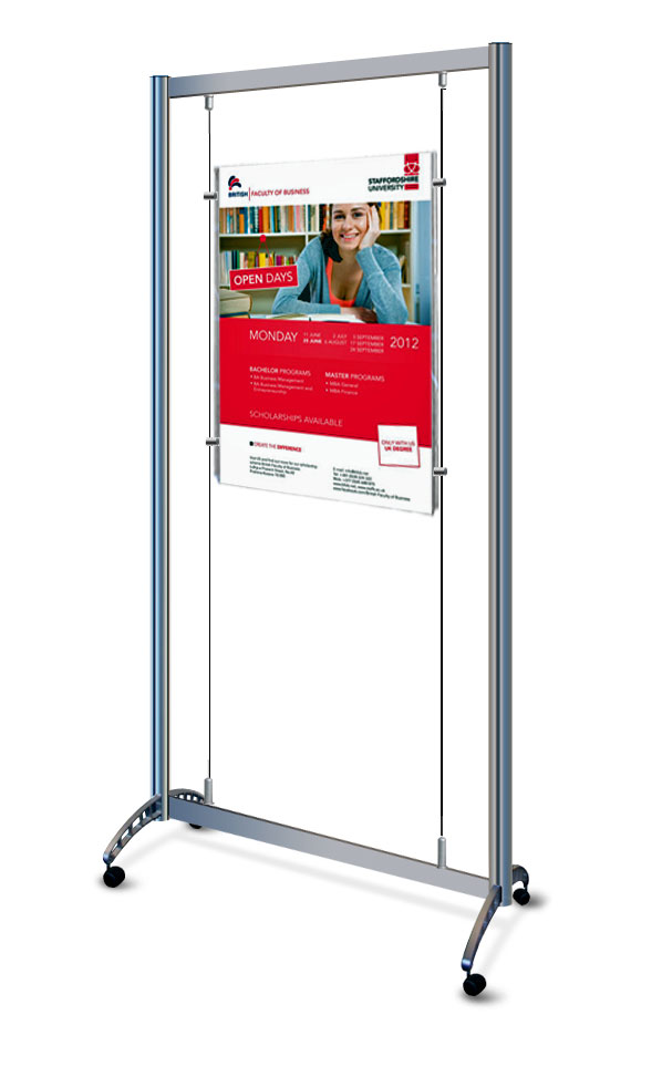 Mobile cable display stand with A1 poster pocket.