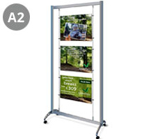 Mobile Display Stand with 3 x A2 Landscape Pockets