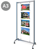 Mobile A3 Landscape (x4) Cable Display Stands