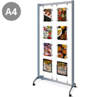 Mobile A4 Portrait (x6) Cable Display Stand & A4 Leaflet Holders