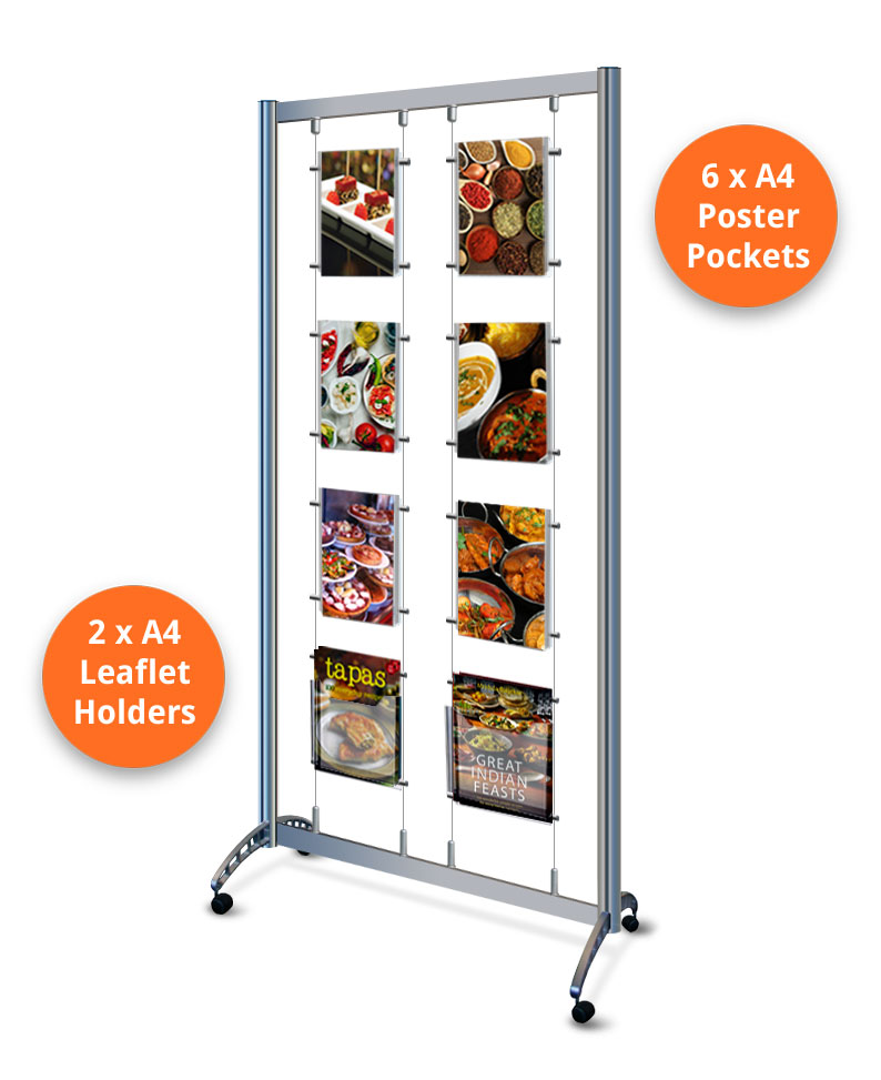 Mobile cable display stand with 6 x A4 poster pockets & 2 x A4 leaflet dispensers.
