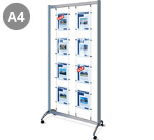 Mobile Display Stand with 8 x  A4 Portrait Pockets
