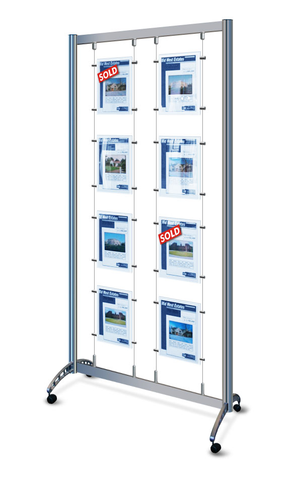 Display stand with 8x A4 portrait pockets on wheels / castors. Ideal for retail events.