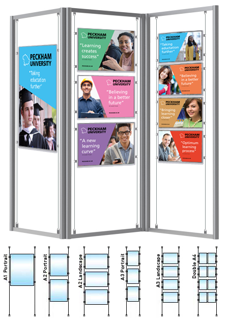 A triple folding display stand frame with a choice of A1, A2, A3 or A4 pockets. Use as a U-shape, L-shape or zig-zag display stand.