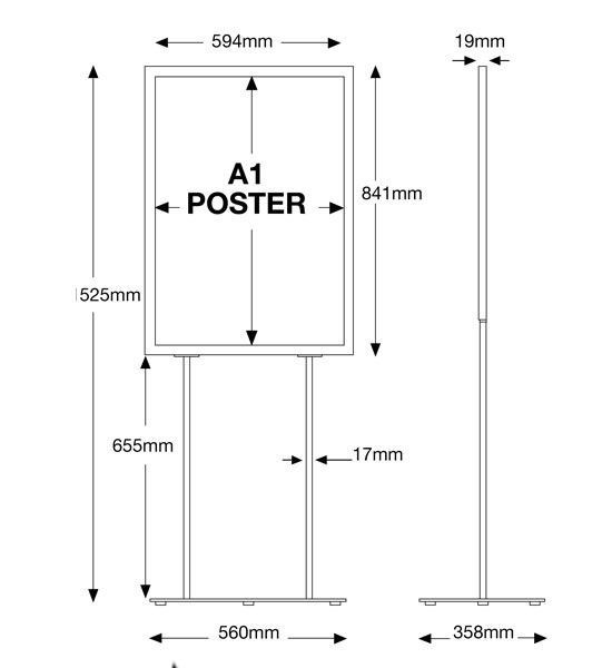 Assembled sizes of the A1 retail poster holder
