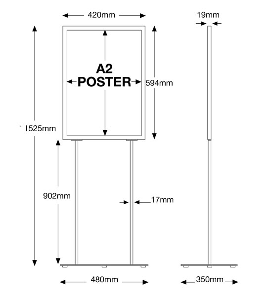 Assembled sizes of the retail poster holder
