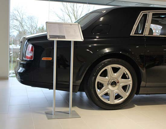 A3 poster stands are perfect for car showrooms to display car specs & prices