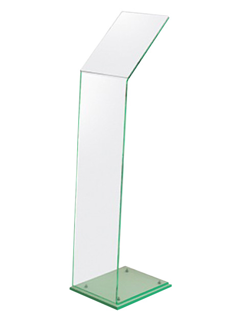 Our silent salesman is made from clear acrylic with a stylish green tint