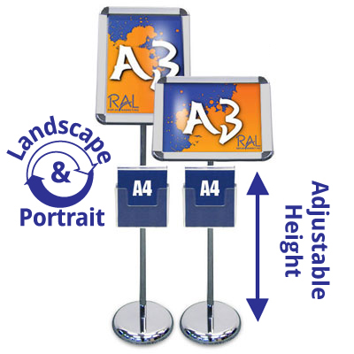 The A3 sign stands offer both a tilting frame head and clip on leaflet holder in A4, A3 and 1/3 A4 size.