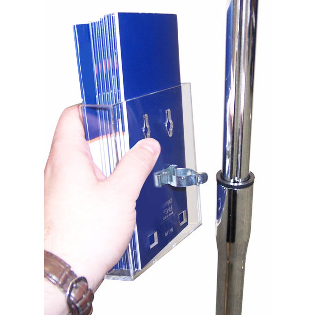 The clear acrylic poster pocket clips onto the sign stand pole. Choose an A4, A5 or 1/3 A4 leaflet holder.