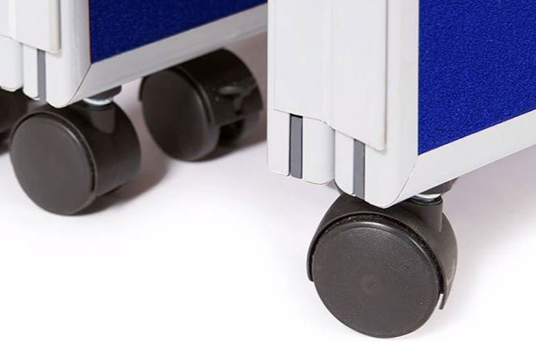 Close-up of lockable wheeled castors